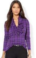 Lauren by Ralph Lauren Ruffled Henley Shirt - Lyst