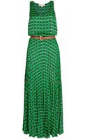 Michael by Michael Kors Mini Iconic Geometric Pleated Maxi Dress - Lyst