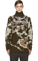 Etoile Isabel Marant Khaki Green Mlange Knit Siloway Turtleneck Sweater - Lyst