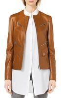 Michael Kors Leather Moto Zip-front Jacket - Lyst
