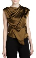Donna Karan New York Sleeveless Draped Top - Lyst