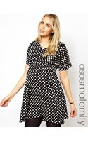 Asos Maternity Exclusive Spot Skater Dress with Pleating - Lyst