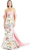 Oscar de la Renta English Garden Mikado Bow-back Gown - Lyst
