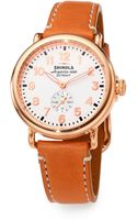 Shinola Runwell Rose Goldtone Pvd Stainless Steel Leather Strap Watch - Lyst