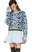Pixie Market Monique Leopard Chunky Sweater - Lyst
