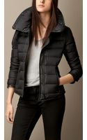 Burberry Down Filled Leather Trim Jacket - Lyst