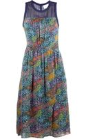 Band Of Outsiders Flower Field Colorblock Dress - Lyst