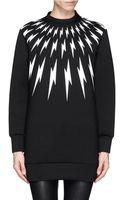 Neil Barrett Lightning Bolt Print Long Sweatshirt - Lyst
