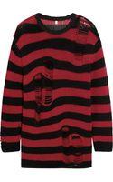 R13 Shredded Striped Cashmere Sweater - Lyst