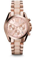 Michael Kors Mini Bradshaw Acetate and Rose Gold Tone Stainless Steel Watch - Lyst