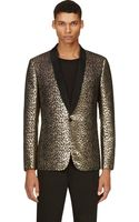Saint Laurent Black and Gold Leopard Brocade Tuxedo Blazer - Lyst