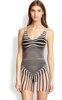 Jean Paul Gaultier Optical Tulle Onepiece Swimsuit - Lyst