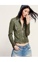 Free People Doma Green Hood Leather Jacket - Lyst
