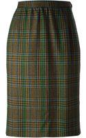 Yves Saint Laurent Vintage Checked Skirt - Lyst