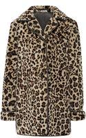 Miu Miu Leopard Print Shearling Coat - Lyst