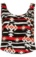 Topshop Womens Aztec Split Back Sun Top Black - Lyst