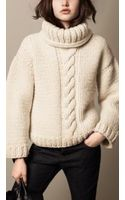 Burberry Alpaca Wool Cable Knit Roll Neck Sweater - Lyst