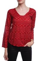 Language Embroidered Long Sleeve Top - Lyst