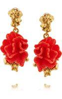 Oscar de la Renta Gold-plated Resin and Crystal Clip Earrings - Lyst