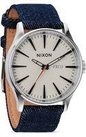 Nixon The Sentry Denim Strap Watch 42mm - Lyst