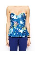 Asos Peplum Top Bandeau with Floral Print in Scuba - Lyst