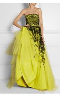 Oscar de la Renta Embroidered Tulle and Silkfaille Gown - Lyst