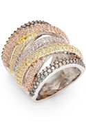 Cz By Kenneth Jay Lane Pavé Overlap Ring - Lyst