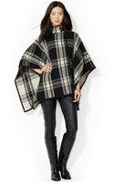 Lauren by Ralph Lauren Faux-suede-trim Plaid Poncho Sweater - Lyst