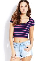Forever 21 Off Duty Striped Crop Top - Lyst