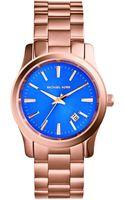 Michael Kors Runway Cobaltdial Rose Goldtone Stainless Steel Watch - Lyst