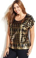 Michael Kors Michael Plus Size Printed Sequined Top - Lyst
