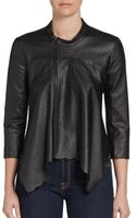 BCBGMAXAZRIA Perforated Faux Leather Jacket - Lyst