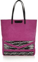 Karl Lagerfeld Suede and Snake-effect Leather Tote - Lyst