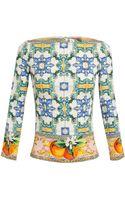 Dolce & Gabbana Silk Tile Print Top - Lyst