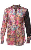 Comme Des Garçons Contrast Solid Sleeve Shirt - Lyst