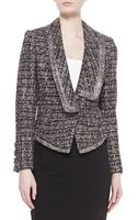 Badgley Mischka Collection Tweed Combo Jacket Smoke - Lyst