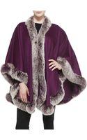 Sofia Cashmere Frosted Fox Fur-trimmed Cashmere U-cape - Lyst