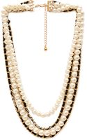 Forever 21 Faux Pearl and Woven Necklace - Lyst