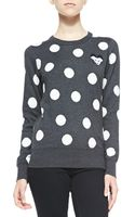 French Connection Polka-dot Mouse-detailed Sweater Charcoalwhite Multi Small - Lyst