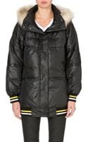 DKNY Faux Fur-trim Quilted Coat - Lyst