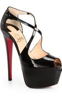 Christian Louboutin Exagona Patent Leather Crisscross Pumps - Lyst