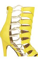 Akira Vicky Platform Caged Bootie in Lime - Lyst