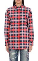 MSGM Tartan-panelled Cotton Shirt - Lyst