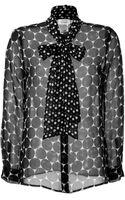 Steffen Schraut Silk Miami Dotted Tie Neck Blouse - Lyst