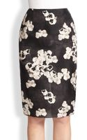 Giambattista Valli Pansy Print Silk Pencil Skirt - Lyst