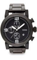 Nixon Black Stainless Steel Chronograph Link Bracelet Watch - Lyst