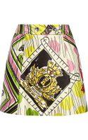 Moschino Cheap & Chic Printed Satin Mini Skirt - Lyst
