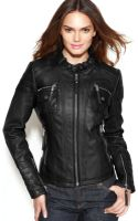 Michael Kors Michael Petite Bucklecollar Quilted Leather Jacket - Lyst