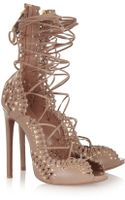 Alaïa Studded Laceup Leather Sandals - Lyst