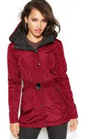 Jessica Simpson Hooded Belted Puffer Coat - Lyst